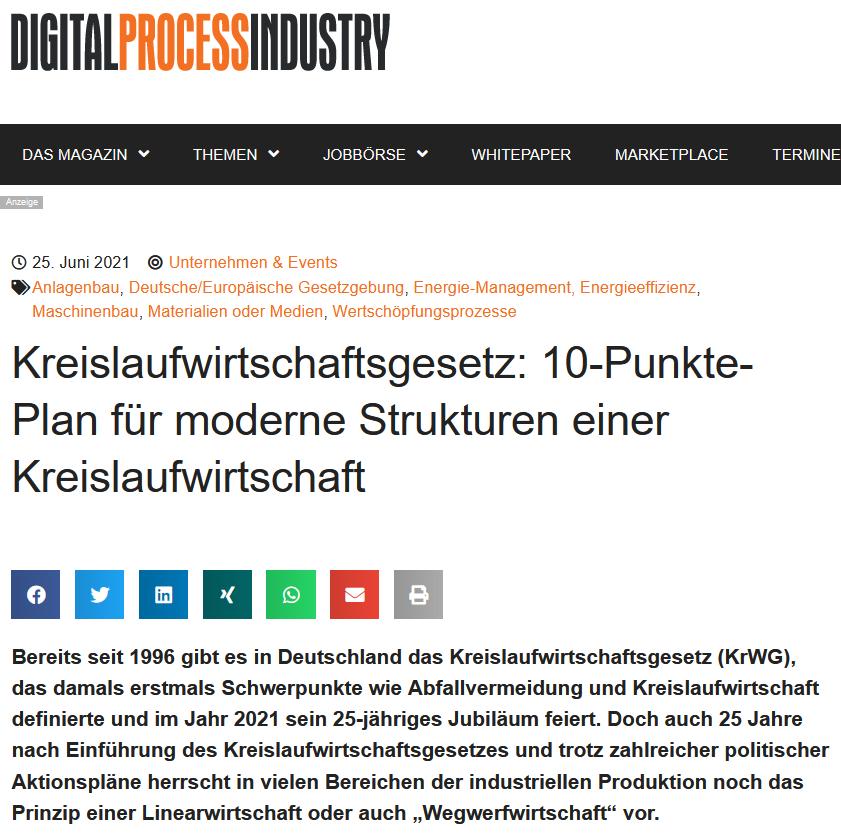 Kreislaufwirtschaftsgesetz 10-Punkte-Plan für moderne Strukturen einer Kreislaufwirtschaft